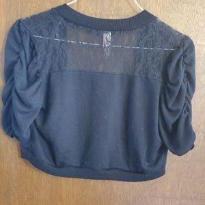 Black lace cropped cardigan